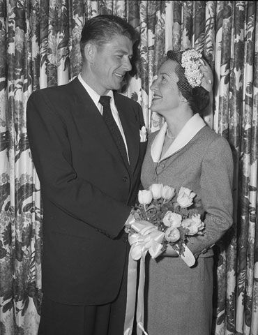 Actor Ronald Reagan and his bride, actress Nancy Davis, smile at each other following their marriage, March 4, 1952, in the Little Brown Church of the Valley in north Hollywood, Calif. It is her first marriage and Reagan's second.