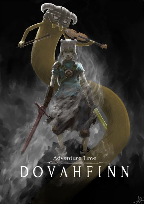 Awesome adventure time/skyrim fan art mashup.