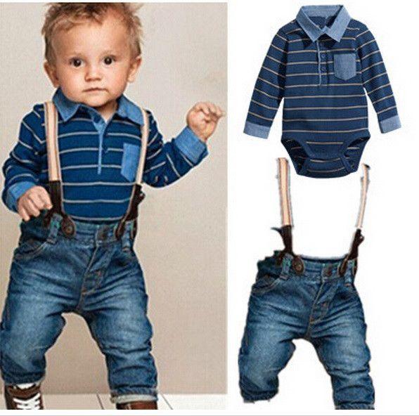 Stripe Shirt & Denim Set