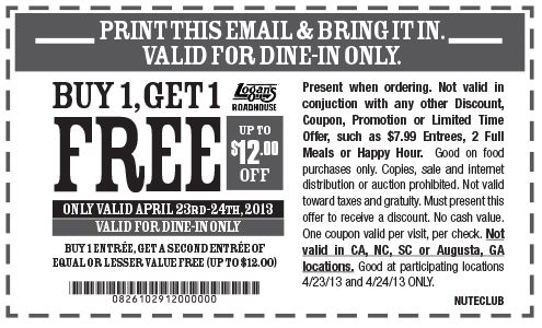 Pinned April 23rd: Second entree free at Logans Roadhouse coupon via The Coupons App