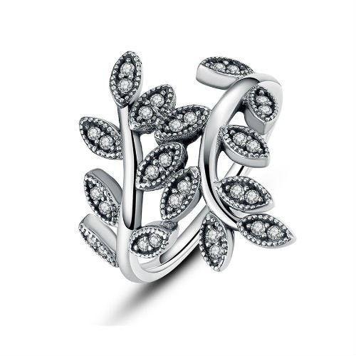 Rings   Sterling Silver Sparkling CZ leaf Ring