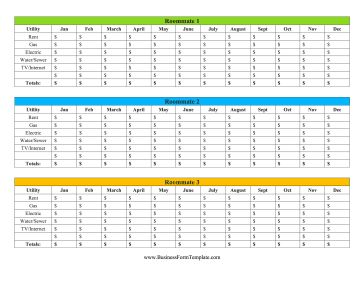 Divide utility costs between three roommates with this printable utility expense tracker. Free to download and print