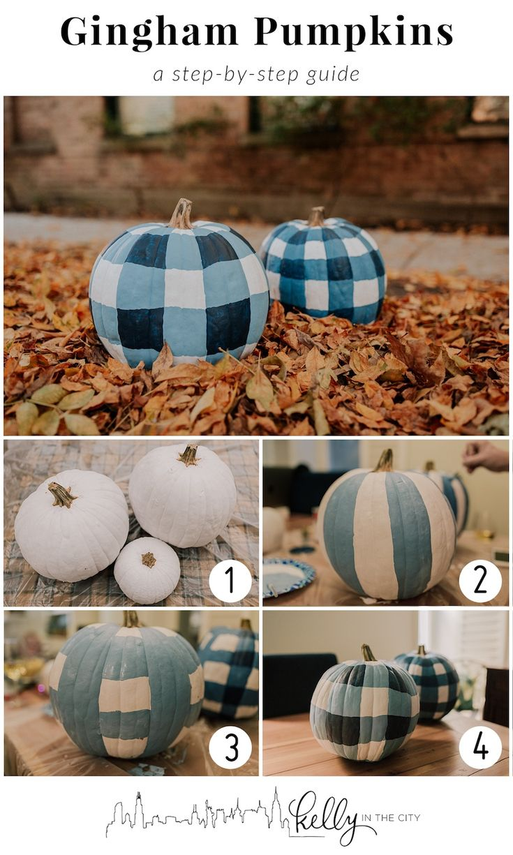 Easy step by step process to create blue and white GINGHAM pumpkins! Create your own pumpkin decor. These DIY gingham pumpkins are super easy, follow these steps to DIY Fall decor.