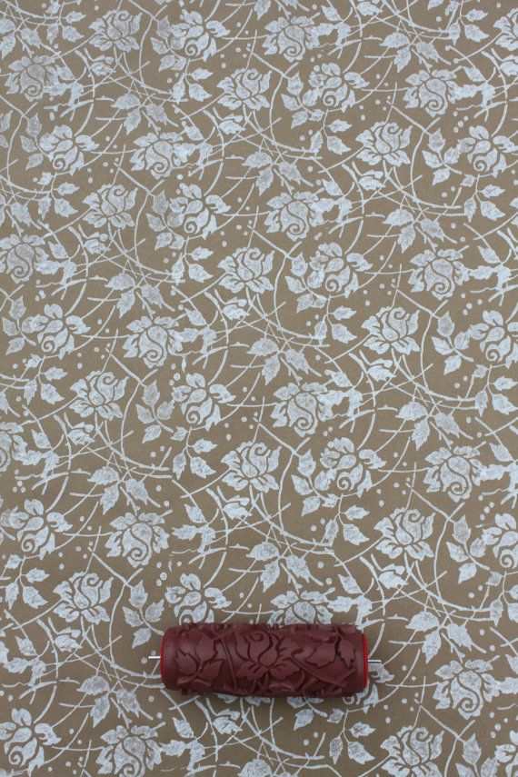 Patterned Paint Roller in Sweet Sea Roses design by NotWallpaper