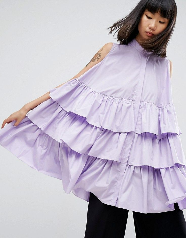 ASOS WHITE Sleeveless Multi Frill Oversize Shirt - Purple