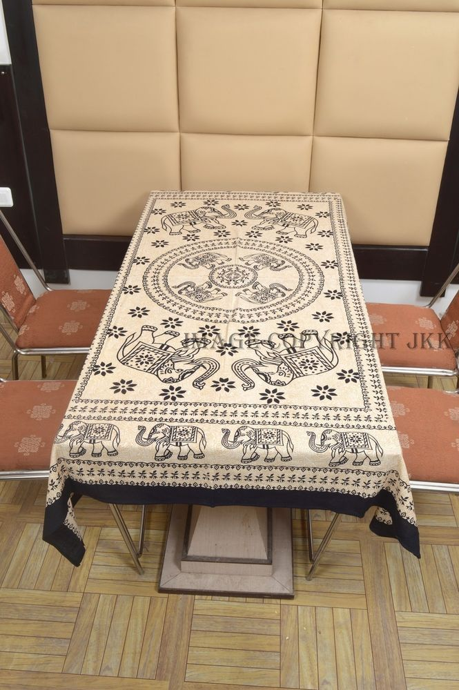 Table Cover Black Elephants Printed Dinning Bohemian Indian Table Cloth IWUS