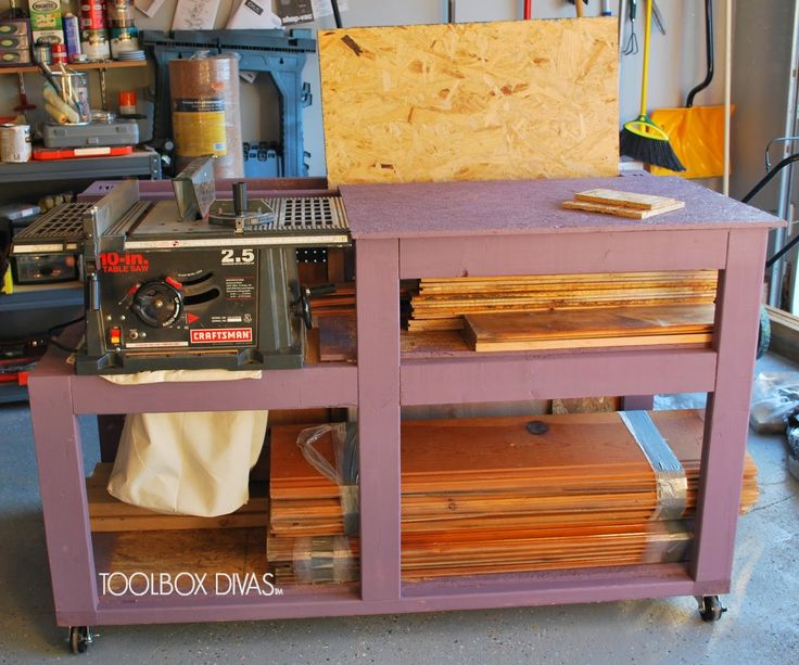 Free Table Saw Workbench with Wood Storage plans. Simple, compact woodworking project with storage.. Build a workbench for your table saw in your garage.