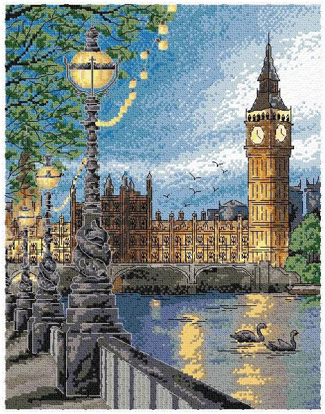 Maria Diaz Designs: LONDON SUNSET (Cross-stitch chart)