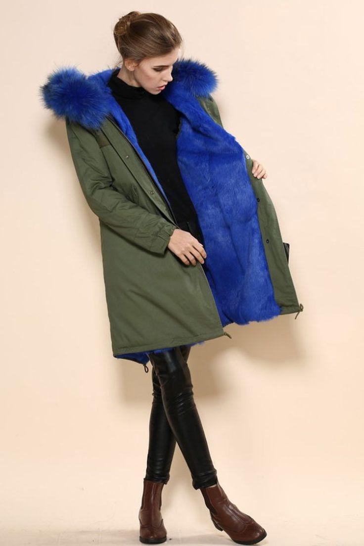 Parka Fourrure Long Bleu