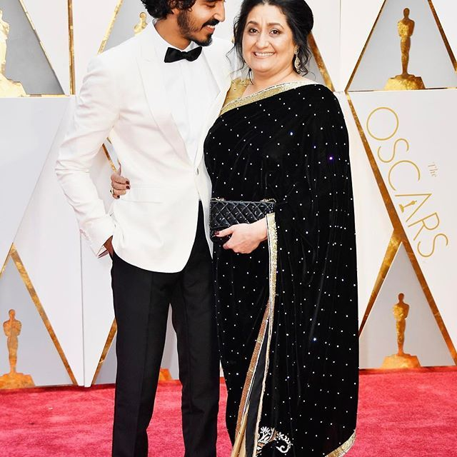 Does it get any cuter than this mother-son moment? #DevPatel, Best Supporting Actor nominee, brings mom #AnitaPatel as his date to the #Oscars2017. #glam #tagforlikes #instastyle #model #followback