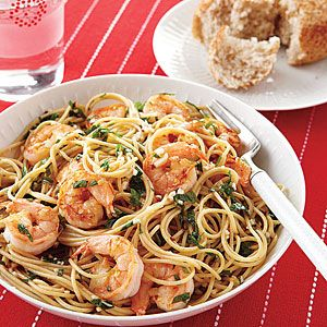 Shrimp Scampi over Whole-Wheat Spaghetti (A reviewer added extra white wine and butter...also added lemon juice.)