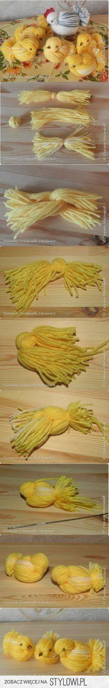 Tutorial pollito gallina gallo amarillo blanco lana hilo rojo