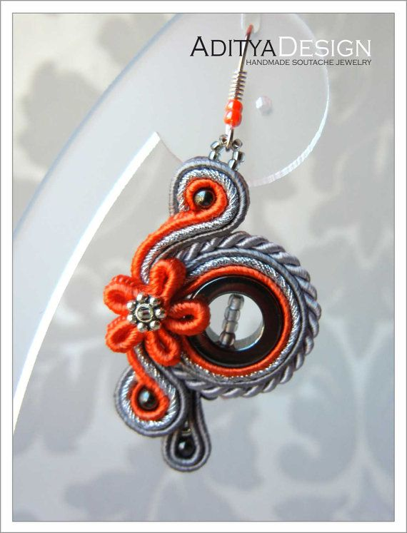 Soutache hecha a mano aretes naranja naranja gris por AdityaDesign