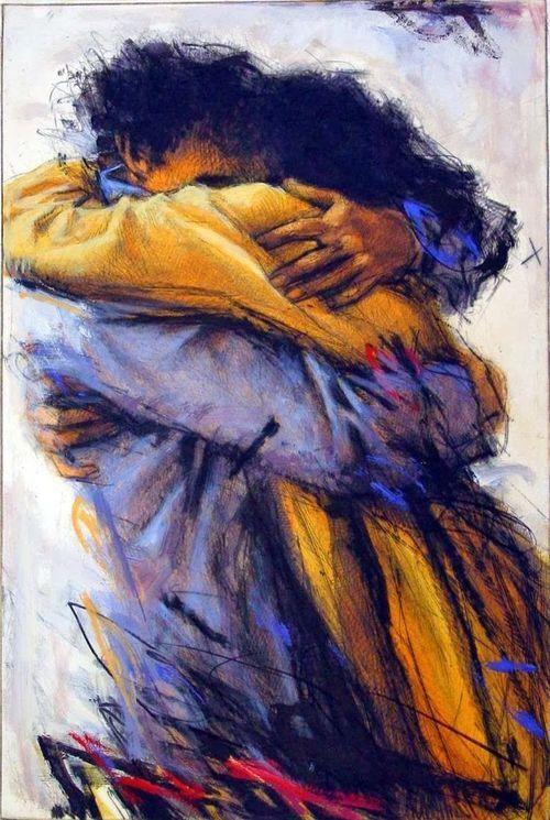 """ufukorada:  German painter Peter Wever, 1950 ~ Embrace """"Ve severken seni, sevdikçe seni, hep çocuk kalacağım, biliyorum.""""  Akgün Akova"""