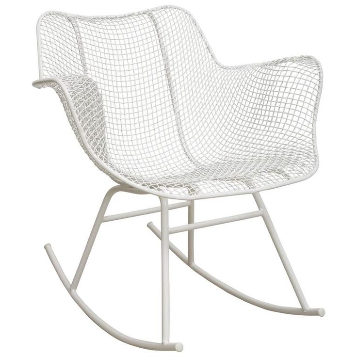 Rare Vintage Sculptura White Rocking Chair, Russell Woodard | From a unique collection of antique and modern rocking chairs at https://www.1stdibs.com/furniture/seating/rocking-chairs/