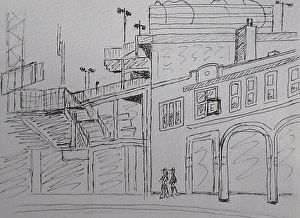 "Fenway Park, Boston, Mass. Drawing by Kathleen Daughan Pen and Ink ~ 5"" x 9"""