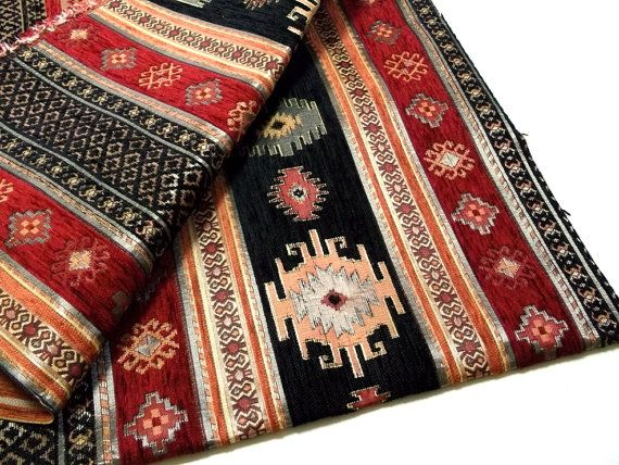 Ethnic Tribal Style Chenille Upholstery Fabric, Aztec Navajo Fabric, Geometric Design Kilim Fabric, Black  - Red, Half Yard/Meter