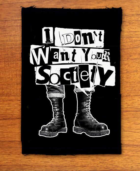 Anti samenleving punk patch punk patches door OneHandPrinting