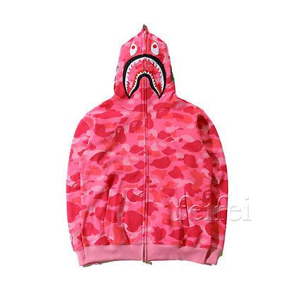 5bbefbcdfa3c Hot Bathing Ape Bape Shark Jaw Camo Full Zipper Hoodie Sweats Coat Jacket  Men s