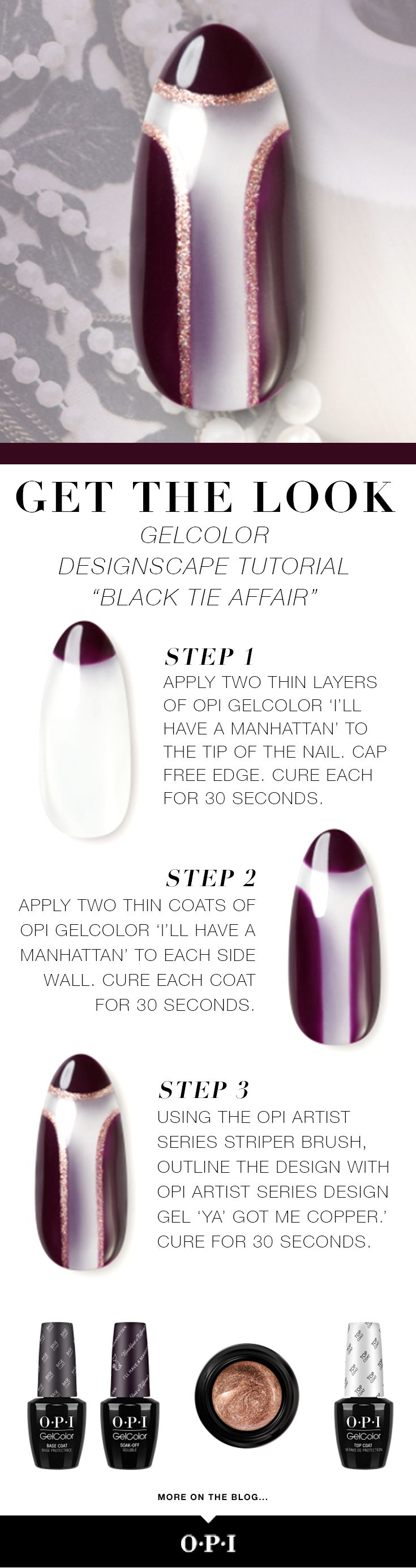 """OPI presents Breakfast at Tiffany's inspired nail art. Try our """"Black Tie Affair"""" look using the new OPI holiday collection inspired by the iconic film. OPI is delighted to celebrate Breakfast at Tiffany's with these must-have shades now available in OPI GelColor, Infinite Shine and Nail Lacquer. Head to the salon to try this classic #OPIBreakfastAtTiffanys look."""