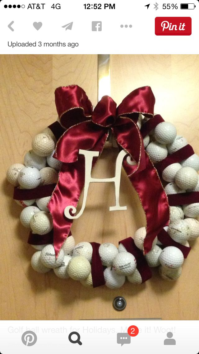 Re purpose Used old golf balls wreath
