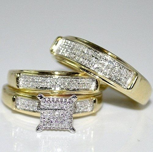 Diamond Trio Set His Hers Matching Engagement Ring Wedding Band 14K Yellow Gold #br925Silverczjewelry #EngagementWeddingAnniversaryPartyDailyWear