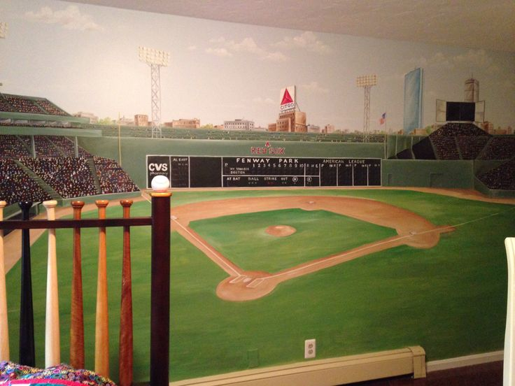 Hand painted Fenway park mural