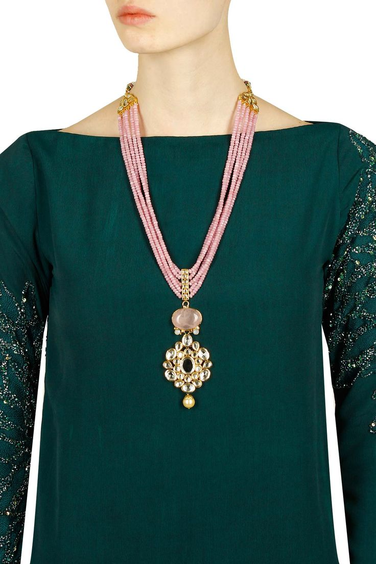 Gold finish multilayer pink onyx necklace available only at Pernia's Pop Up Shop. .#perniaspopupshop #shopnow #newcollection ##happyshopping #accessories #anajalijain