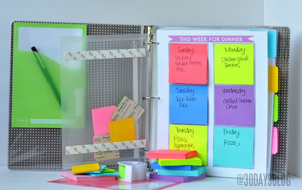repurposed organization idea | Family binder via Thirty Handmade Days