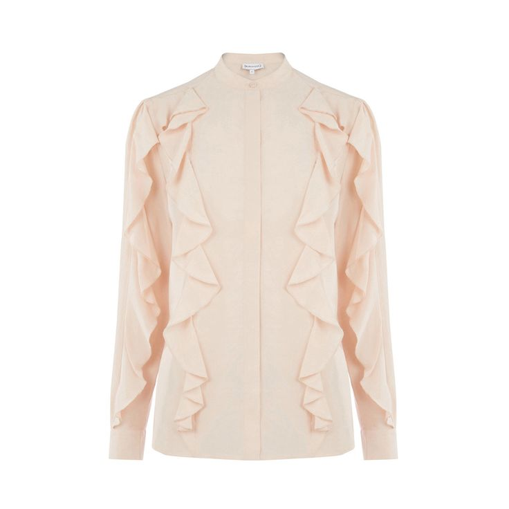Warehouse, RUFFLE DETAIL BLOUSE Light Pink 0