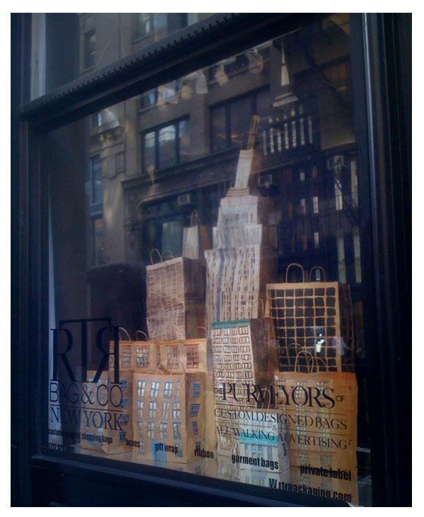 BRILLIANT Idea For Paper Bags In A Window Display. Nyc