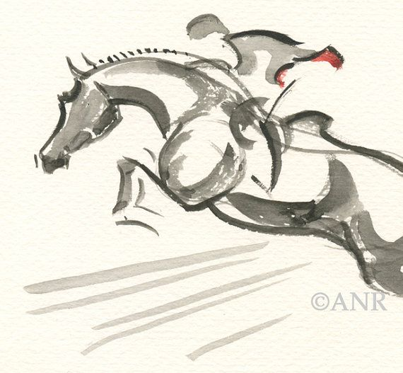 """Horse Art Painting of Hunter Jumper, Original Watercolor by Anna Noelle Rockwell, """"Hint of Scarlet""""."""