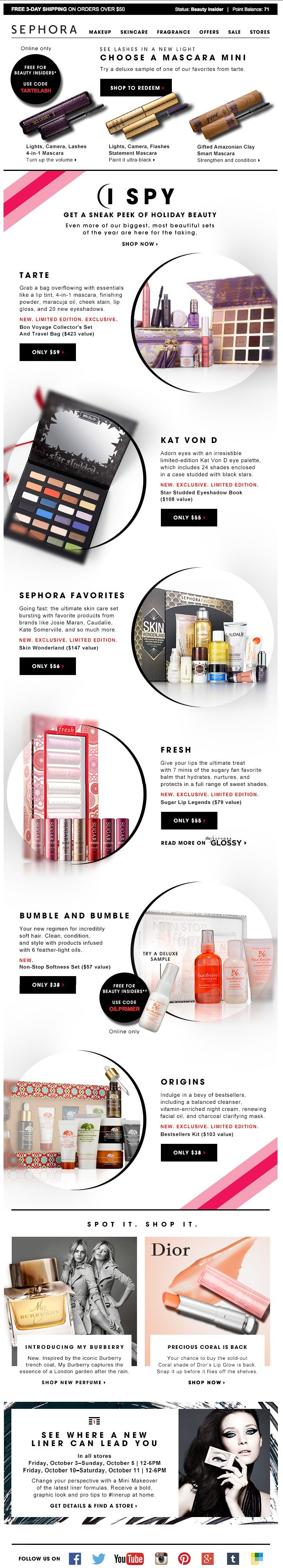 """Sephora, """"Holiday sets are here + a deluxe tarte mini"""" 10/1/14"""