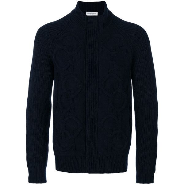 Salvatore Ferragamo cable-knit cardigan ($1,490) ❤ liked on Polyvore featuring men's fashion, men's clothing, men's sweaters, blue, mens cable knit sweater, mens cardigan sweaters, mens cable knit cardigan sweater, mens chunky knit sweater and mens blue sweater