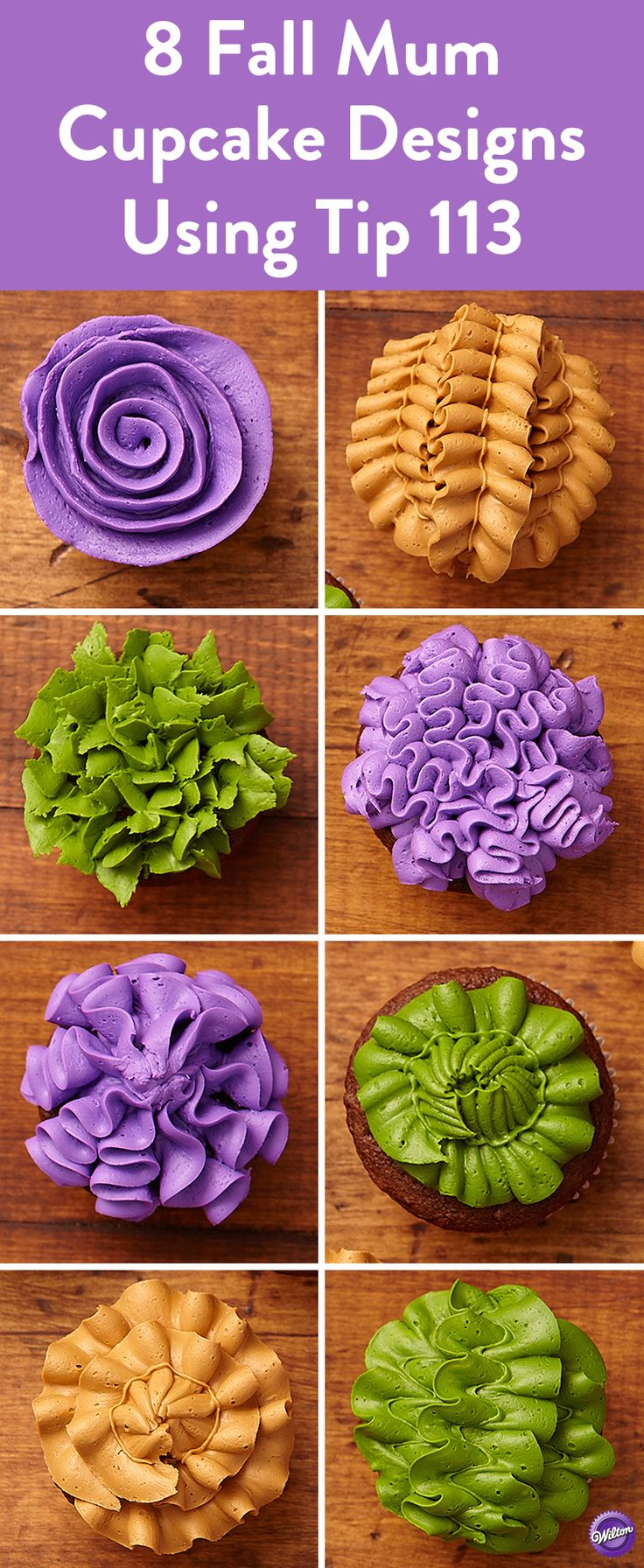8 Fall Mum Cupcake Designs Using Tip 113 - Create 8 stunning cupcake designs in the rich shades of fall mums using Wilton decorating tip 113. Use the Color Right Performance Color System to get the vivid colors.