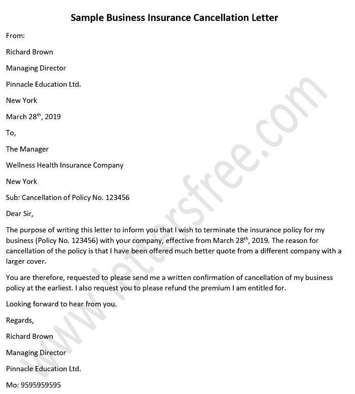 Sample Letter To Cancel Business Insurance Policy Business