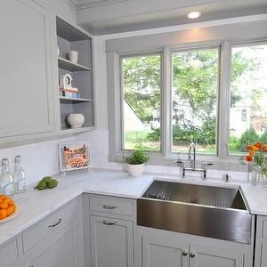 Apron Sink White Grey Kitchen With Pops Of Color