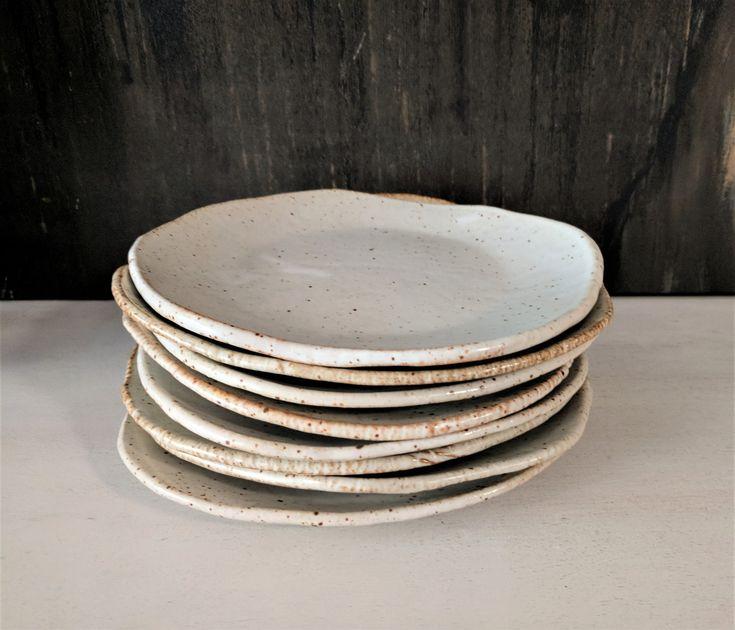 Handmade plate matte off white salad plate ceramic plate farmhouse dinnerware dessert plate stoneware dishes each sold separately