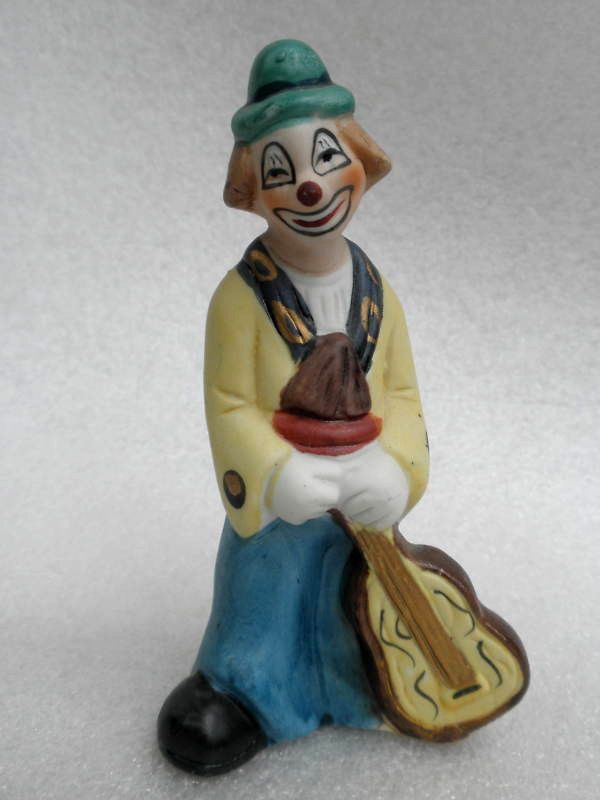 #Clown Band #Figurine Bisque Porcelain 5in Hobo Guitar Player Cello Taiwan Vintage
