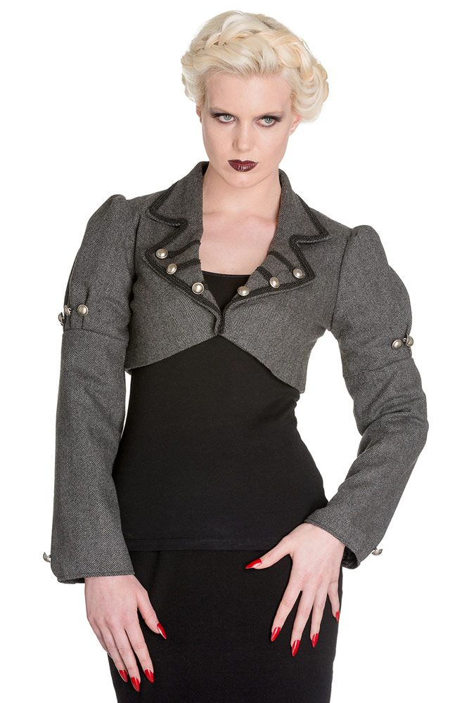 Veste courte grise en laine chic Darcy jacket Hell Bunny