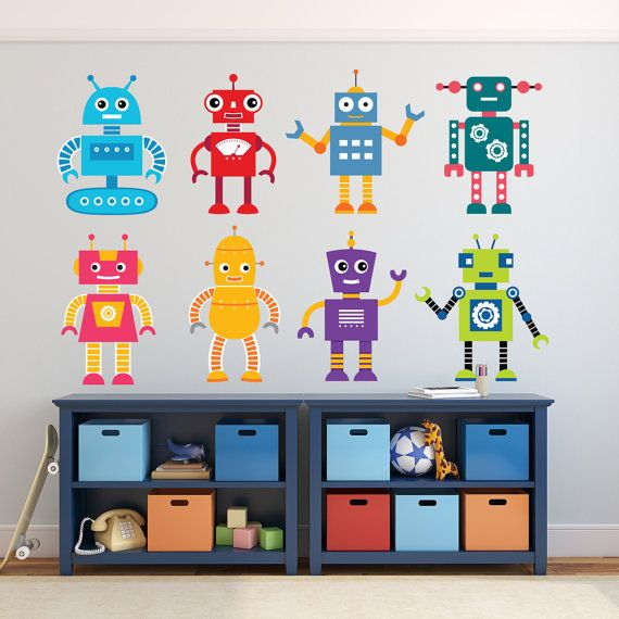 8 wall decals robots children bedroom playroom printed for Fabric for boys room