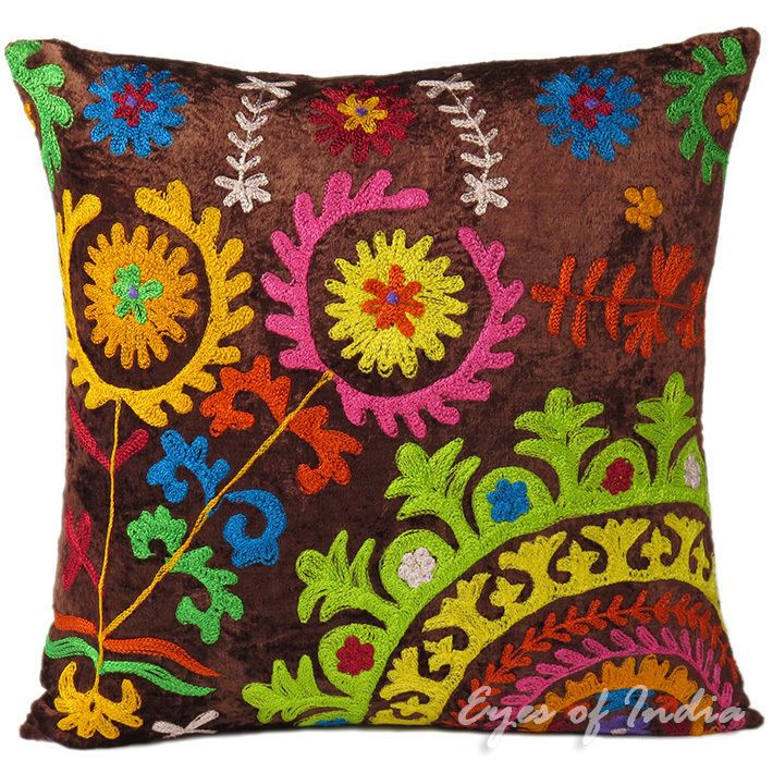 "16"" BROWN SUZANI VELVET PILLOW CUSHION THROW COVER Colorful Decorative Toss #Handmade #PillowCushionCover"