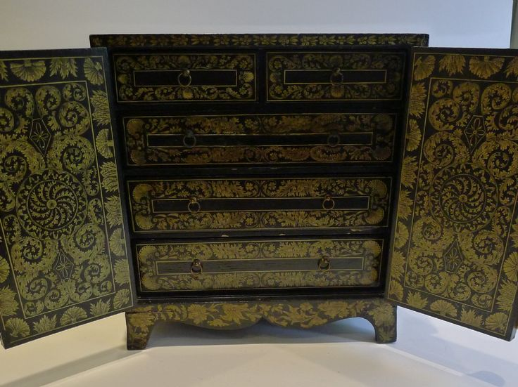Magnificent Antique English Penwork Table Cabinet c.1790