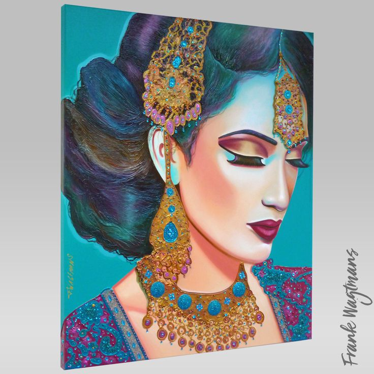 """Teal painting. Indian woman. Hand painted portrait on canvas. Stunning colours: teal, purple and gold. Portrait Artist: Frank Wagtmans. Series: Behind The Indian Veil. Painting Title: """"Lost in Paradise"""". Year: 2015. Exclusive artwork. Only one copy available! #indianbride #indianwoman #indianwedding #teal #paintings #portraits #art #artwork #bollywood #indianbridal #india #exclusiveart #luxury #homestyling"""