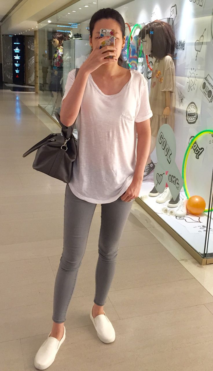 H&M white tee, UNIQLO jeans, Comme Ca Store slip on ...
