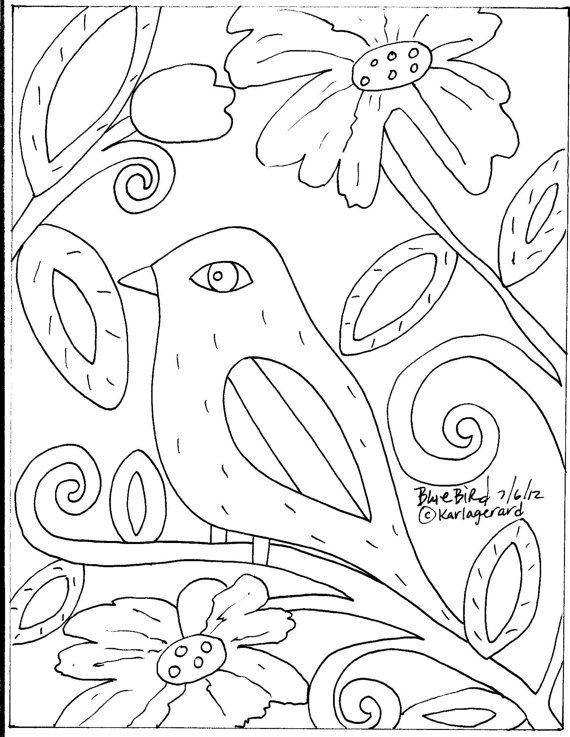 Rug Hooking Craft PAPER PATTERN Blue Bird Folk by KarlaGerardArt