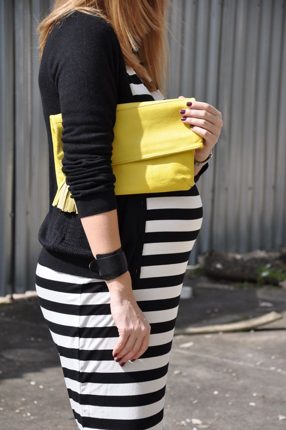 yellow leather clutch great for the summer!!