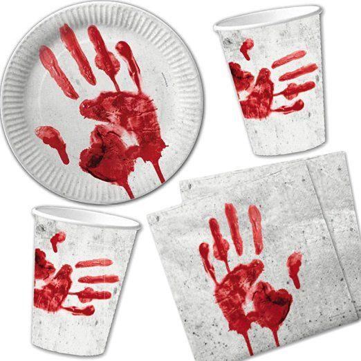 Set di 40pezzi di Halloween * sanguinosa mano * Con piatti di carta + tovaglioli + bicchieri//Piatti bicchieri di carta decorazione Party Stoviglie usa e getta bambini compleanno feste a tema horror ottobre