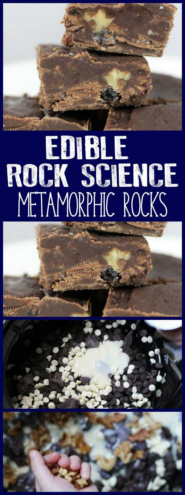 An edible science experiment to make Slow Cooker Walnut and Cranberry Fudge as an example of how Metamorphic Rocks are formed in the rock cycle. #stem #science #rockcycle #education #fudgerecipe #slowcookerfudge #rainydaymum via @rainydaymum