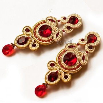 earrings - soutache-Rubis